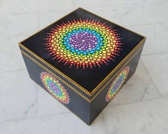 Mandala Chakra Jewelry Box - Dot Art - Painted Wood Jewellery Box - Mandala Art - Trinket Box - Unique Gift - Keepsake Box  - Painted Rock