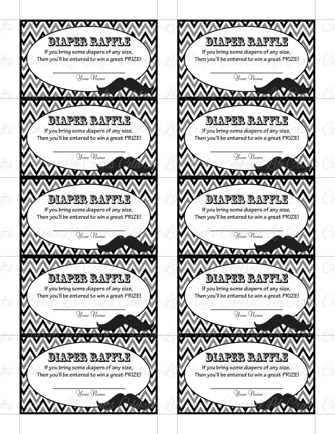 This is a graphic of Terrible Diaper Raffle Tickets Free Printable