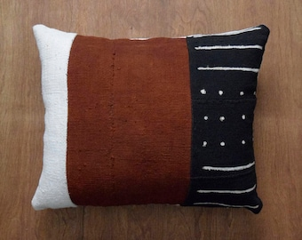 """Authentic Mudcloth Pillow Cover for 16"""" x 20"""" Pillow Inserts - REF: Made to order"""