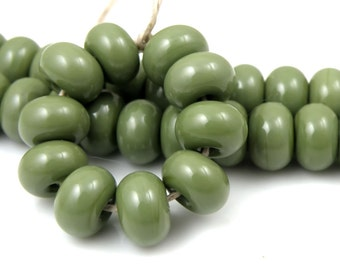 CiM Olive Made to Order SRA Lampwork Handmade Artisan Glass Spacer Beads Set of 10 5x9mm