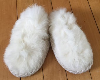 Vintage 1970s Children's White Fur Moccasins Slippers Shoes!