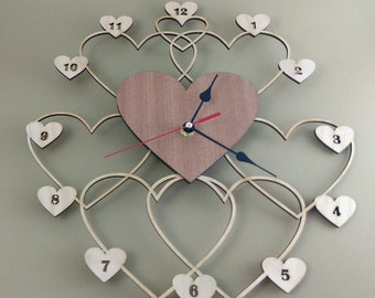 "Wooden wall clock ""HEARTS"""