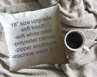 """SIZE UPGRADE 18"""" decorative throw pillow cover, soft white poly canvas with zipper"""