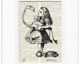 Alice in Wonderland and her flamingo print