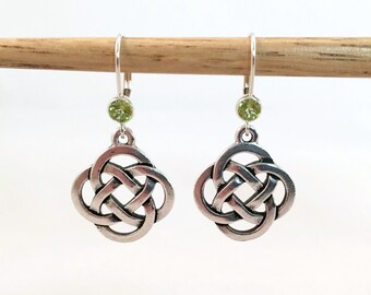 Silver Celtic Knot Earrings with Peridot Green Crystal
