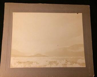 Rare 1899 mounted black-and-white photograph Laconte Glacier Alaska 8x10