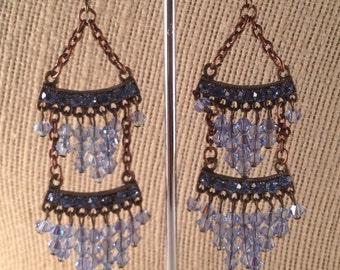 Sparkling light purple Swarovski Crystal earrings