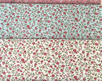 Floral cotton print fabric in 4 colours by the half metre