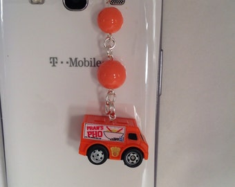 Little Food Delivery Truck Cell Phone charm, dust plug charm, phone charm, iphone charm, note pad charm, headphone jack charm, plug stopper.