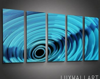 Abstract Metal Wall Art - Deep Tunnel Blue