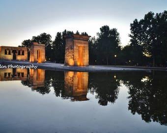 Templo de Debod Photo - Madrid, Spain - Travel Photography - Temple of Debod - Reflection - Canvas Print - Spanish Sunset - Egyptian Temple
