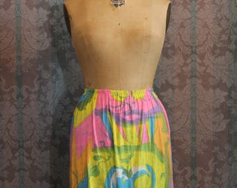 Sz XS Micro Small Petite Vintage Rainbow Beach Summer Mini Skirt