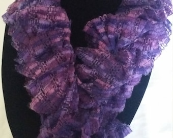 Purple Handmade Knitted Scarf - Ready to Ship
