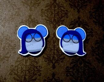 Sadness Inspired Mouse Head Ears Post Earrings W/ Nickel Free Backs Inside Out Joy Fear