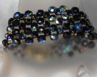 Bracelet black glass jumbo Bohemian