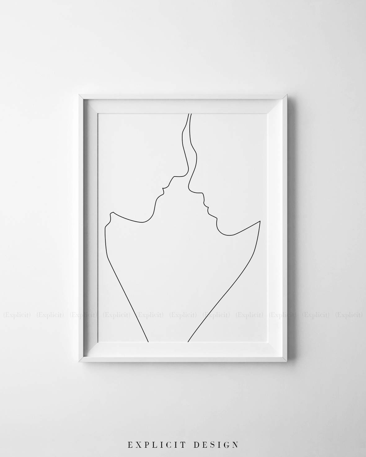 Printable couple profile contours one line drawing print for Minimal art eine kritische retrospektive