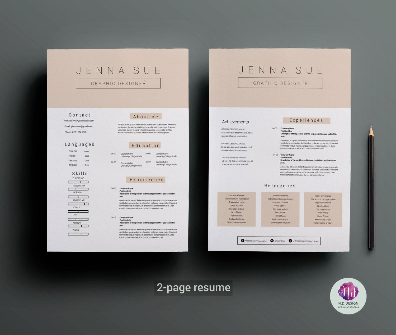 2 Seiten Lebenslauf-Vorlage Anschreiben Vorlage Pastell