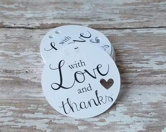 With Love and Thanks tags, Mini Favor Tags, Round Favor Tags, Baby Shower tags, Bridal Shower Tags, Wedding Thank You Tags, 1.5 Round  (232)