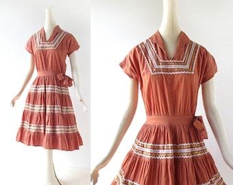 Vintage Patio Dress | Adobe Clay | 1940s Dress | XS