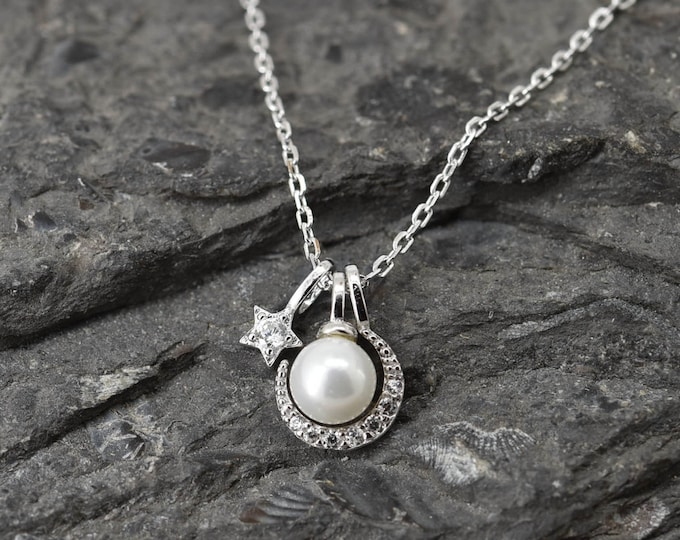 Moon Star Necklace, Moon Star Pendant Jewelry, 925 Sterling Silver, Pearl Crystal Necklace Pendant, Bridesmaid Gift, Bridesmaid Necklace