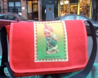 Gnome Alone Canvas Courier Bag, Cross Body Canvas Messenger Bookbag