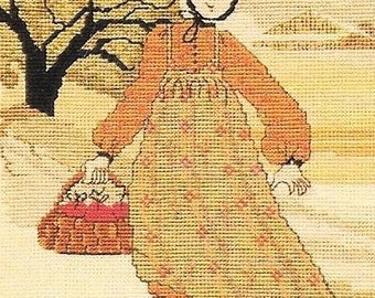 P. Buckley Moss Apple Girl Primitive Counted Cross Stitch Pattern Needlework June Grigg Rare Out Of Print
