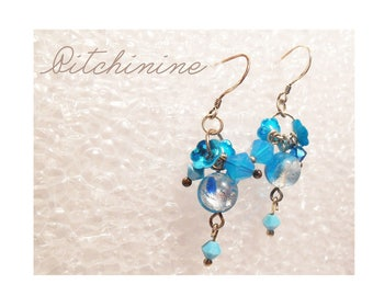 Sterling Silver, light shades of Blues and chandelier Swarovski Crystal