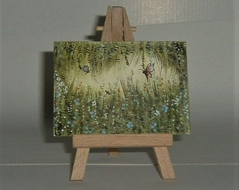 aceo art miniature butterfly fantasy painting (ref E167)