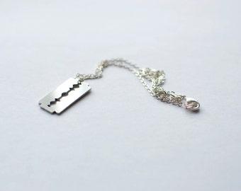 Funny Razor necklace! Sterlin silver chain.