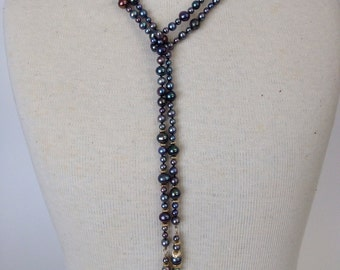 Black Freshwater and 14kt Lariat Necklace
