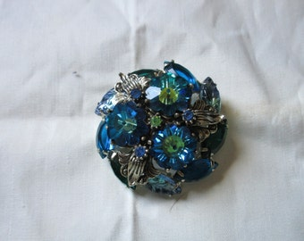 Possible Juliana Colorful Brooch, Blues and Greens, Ravioli and Leaf Rhinestones