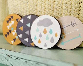 Wooden Fridge Magnet,  Scandinavian design,  Refrigerator Magnets, Decorative Magnets, Set of four  magnets