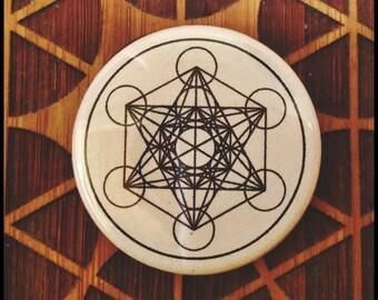 Geometric Magnet and/or Pinback Button Metatron's Cube Zodiac Scarab Mandala Sacred Geometry