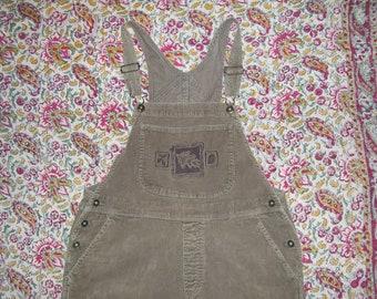 Bib Overalls Hippie Painter Overalls Vintage Brown Corduroy Acorn Embroidery Cotton Boho Summer Bibs Overall Unisex Adult women L 38 x 30