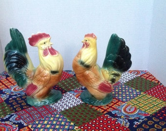 Vintage Art Pottery 1940's Royal Copley Hen and Rooster figurines kitchen decor farm house chic country cottage
