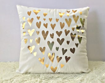 Love, hearts White Gold Pillow Cover,  Wedding decoration,  Decorative Pillow - Throw Pillow, love gold pillow- 18X18