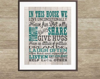 In this house we... | In this house printable | House Gift | In this house rules print | In this house we do love quote | Family Wall Art