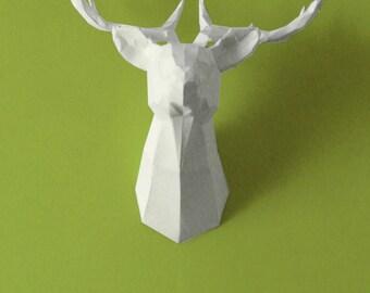 Trophy head of deer paper to mount