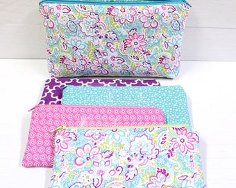 Cash Envelope System - Cash Budget System - 4 Cash Budget Envelopes with Zippers and Zippered Case - READY TO SHIP