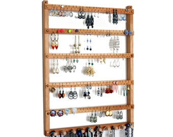 Jewelry Holder - Earring Display, Hanging, Cherry, Wood, Necklace Display.  Up to 120 pairs, 10 pegs.  Wall Mounted. Jewelry Organizer