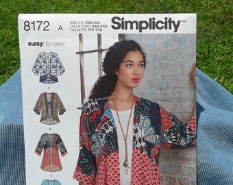 Misses Kimono Style Jacket with Length, Fabric & Trim Variations - High-Low Top-Simplicity Easy-to-Sew Sewing Pattern 8172 - Sizes XXS - XXL