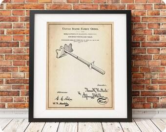 CUE BRIDGE   1881   Patent Print   Pub Games Print   Billiards Player Gift   Pool Player Gift   Pool Hall Art   Man Cave Gift   Snooker Art