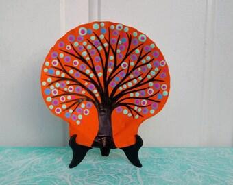 Bohemian Decor / Dot Painted Ocean Shell / Ring Holder Dish / Jewelry Dish / DOT ART / Hand Painted Sea Shell