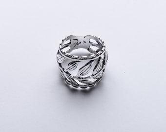 Sterling Silver oxidised Leaf wrap ring