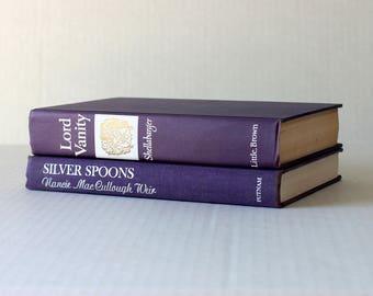 Vintage Book Set, Home Decor Books, Book Stack, Decorative Books for Display, Books for Decoration, Old Books for Decor, Purple