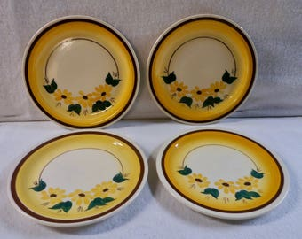 Vernon Kilns Plates Four Brown Eyed Susan Bread and Butter Plates