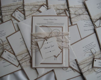 Rustic Wedding Invitation, Lace Wedding Invitation, Cream Wedding Invitation, Kraft Wedding Invitation, Eco Wedding Invitation