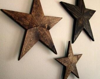 Set of 3: Wooden stars