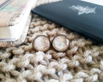 Handmade Globe Earrings // World Map Earrings // Vintage Wanderlust Bronze Earrings // World Traveler