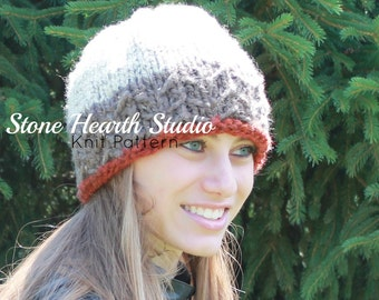 Callaghan Cap Knitted Hat Pattern,Knit Hat Pattern,Winter Hat,Classy,Stylish,Unique,Urban,Chic,Womans Hat,Girls Hat,Slouchy,3 Color Cap